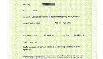 ATEST-POLSKA 2016 TB szkol. praca na wysokości RODO
