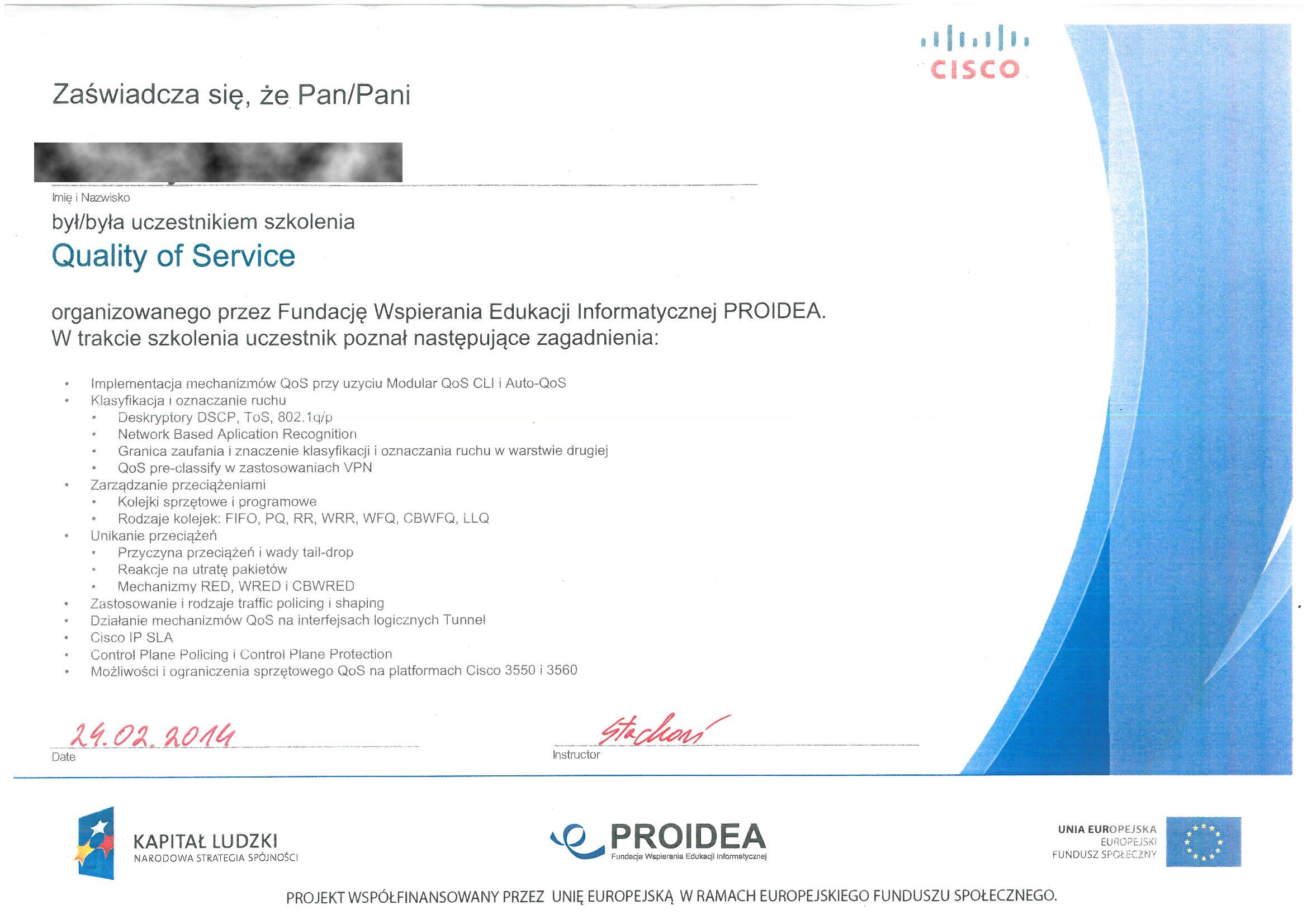 CISCO 2014 ŁK Quality of Service RODO