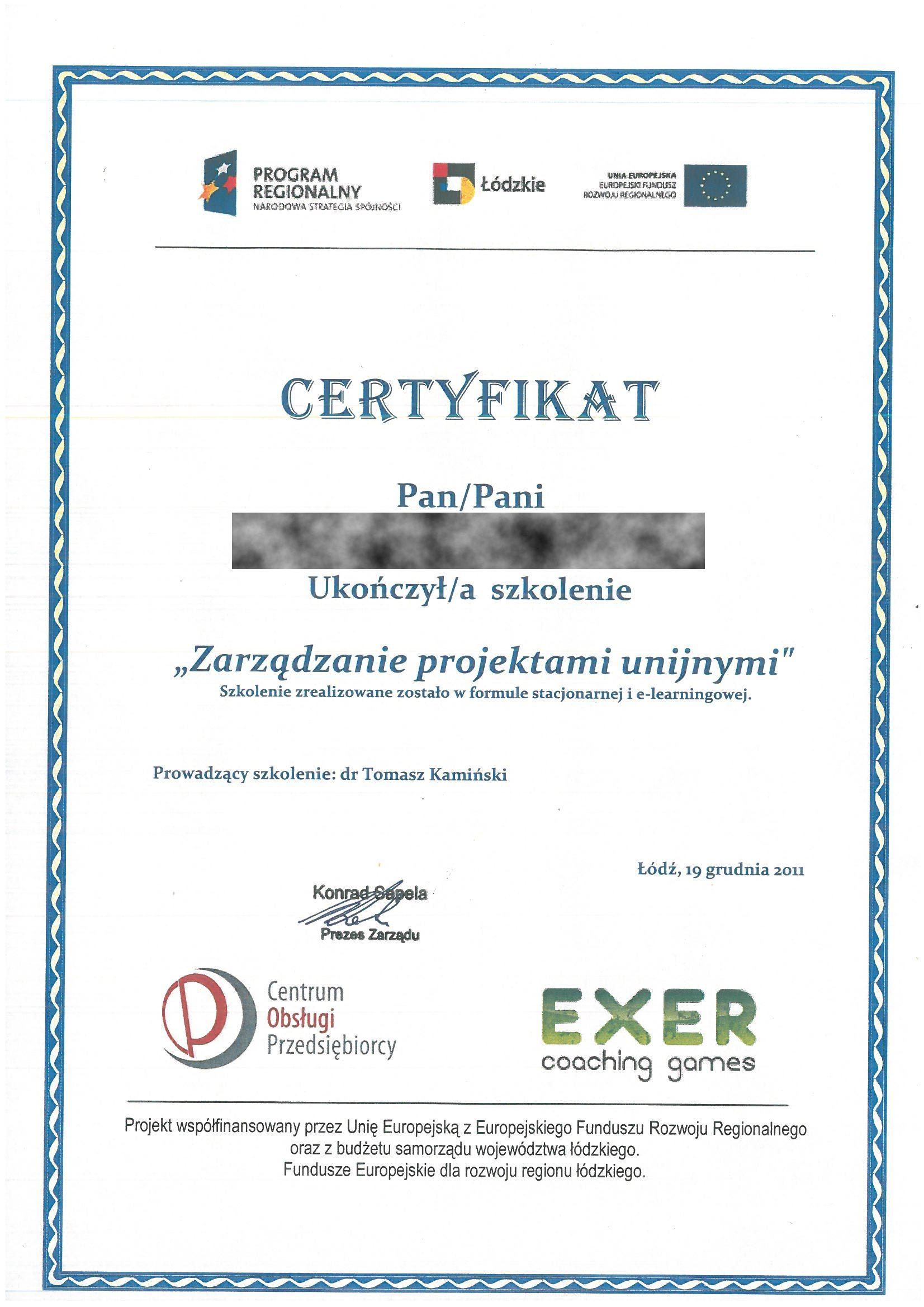 COP, EXER 2011 BB Zarzadzanie projektami unijnymi RODO