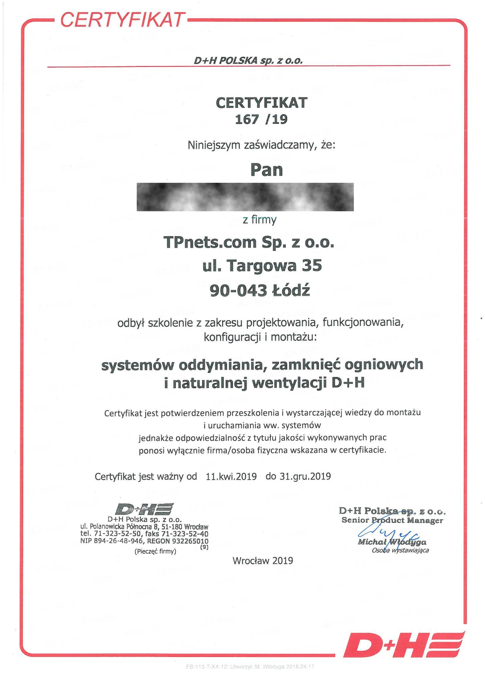 D+H POLSKA 2019 TB Szkol system oddymiania RODO