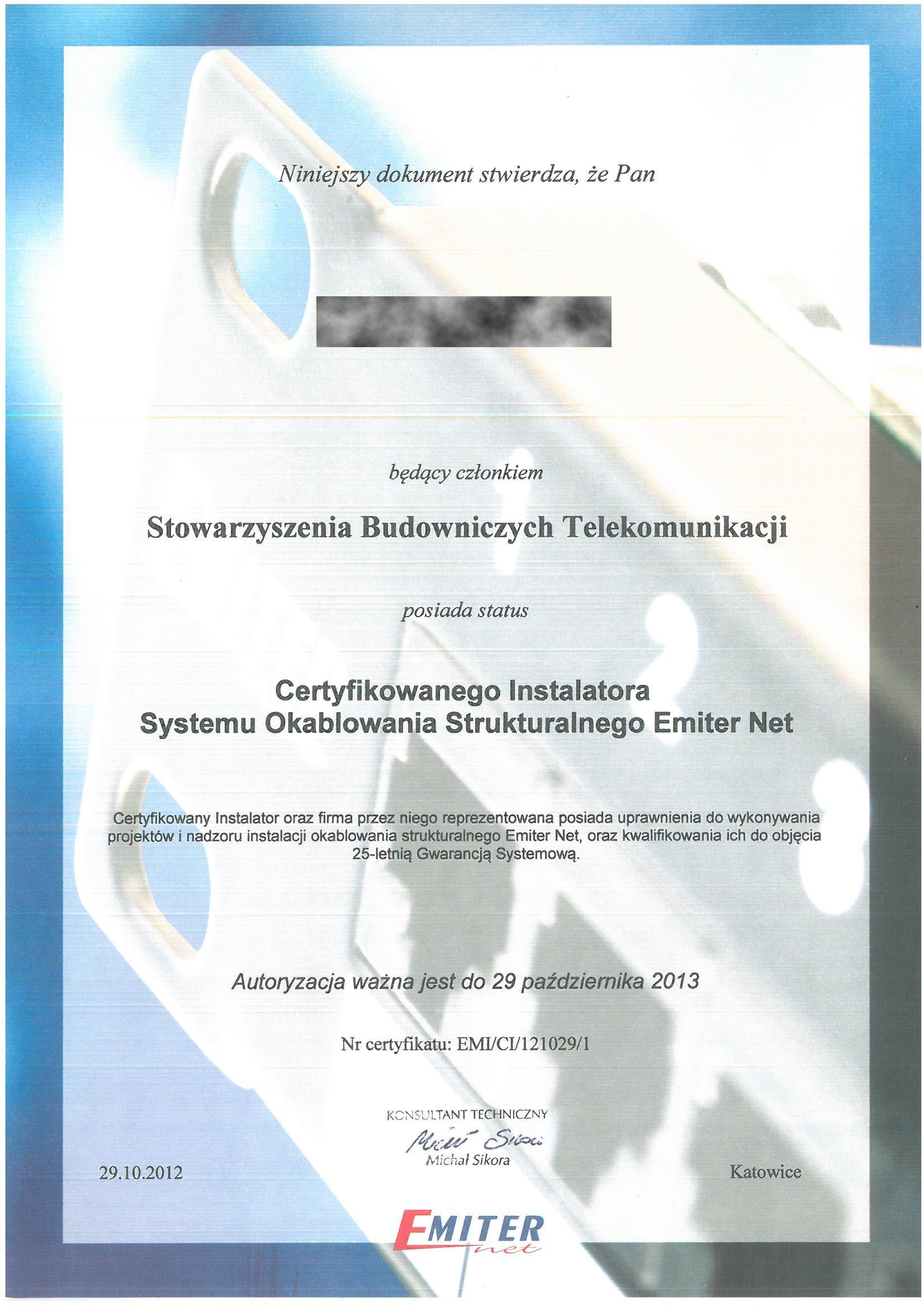 EMITER 2012 TB Instalator Systemu Okablowania RODO