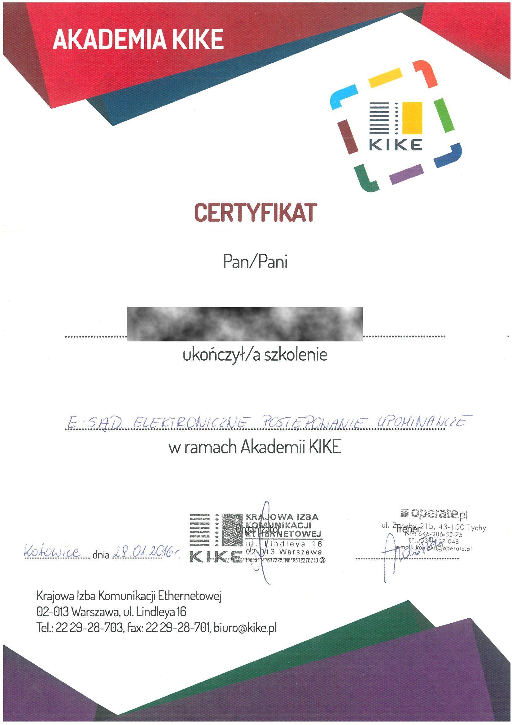 KIKE 2016 KM Cert szkolenie e-sąd RODO