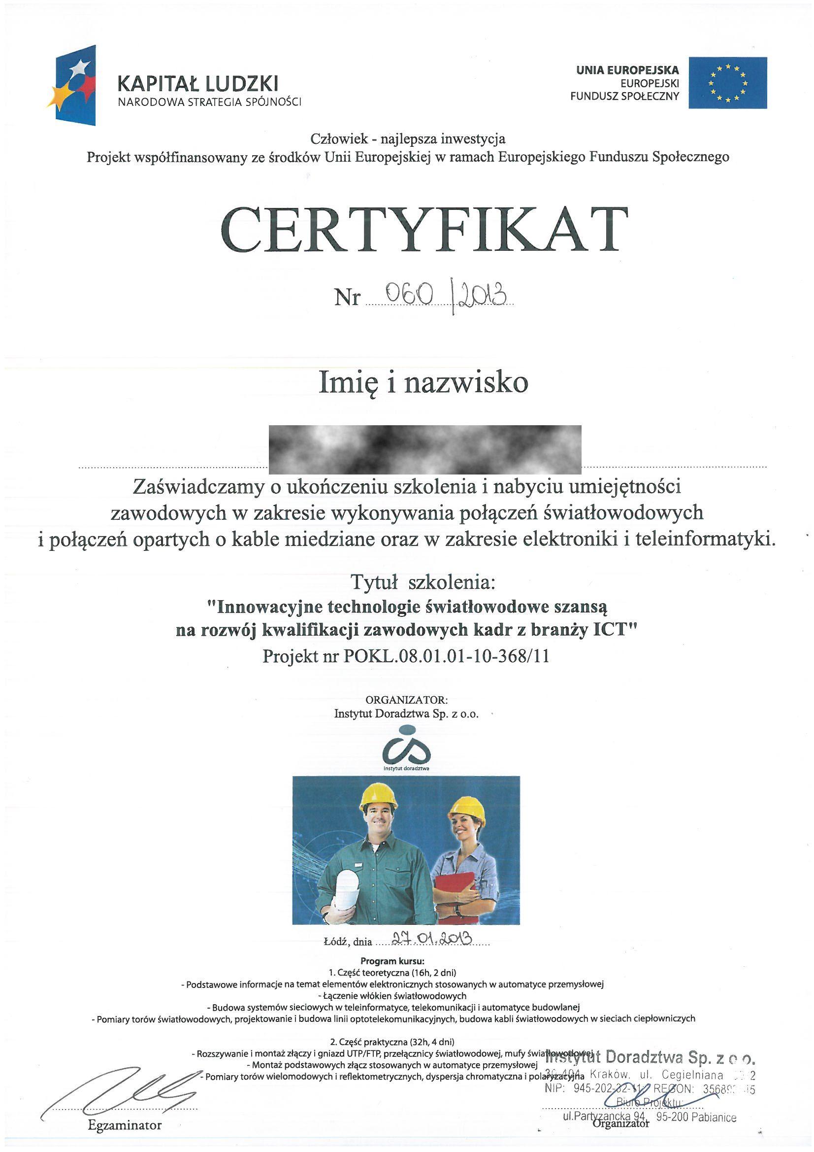 Kapital ludzki 2013 TB Cert.szkolenie RODO