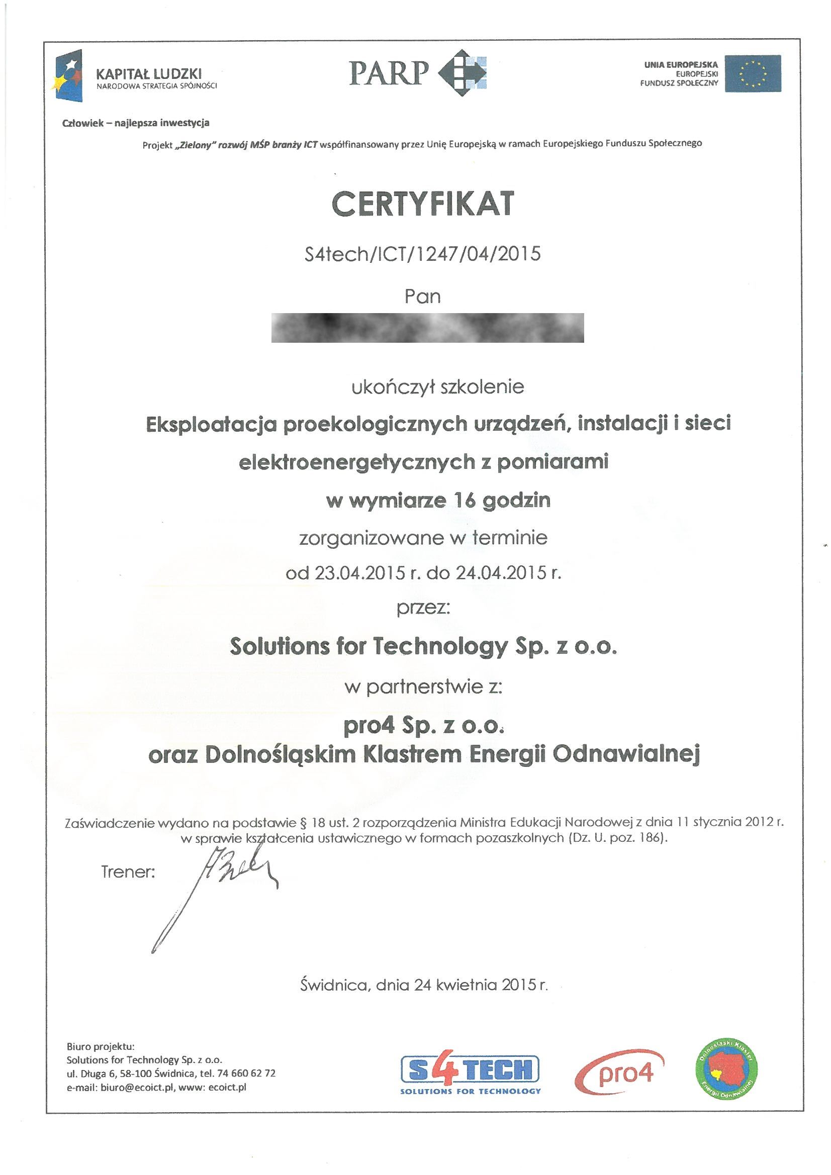 PARP 2015 GP Cert eksploat proekolog urzadzen RODO