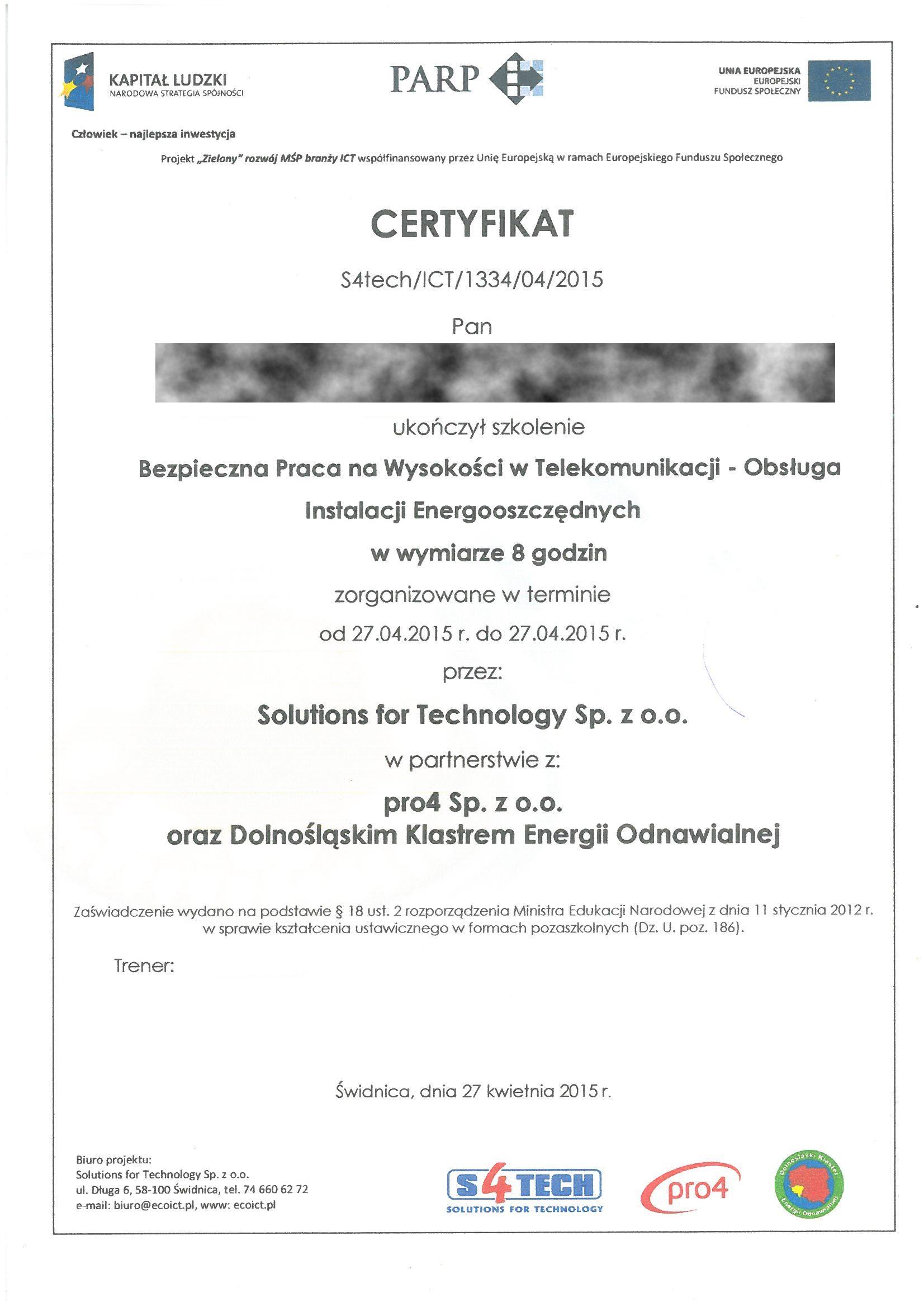 PARP 2015 PZ szkol.praca na wysokości RODO