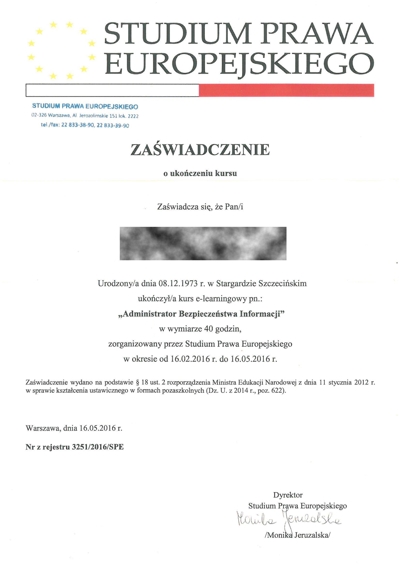 Studium Prawa Europ 2016 TB zasw Administ bezp RODO